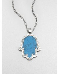 John Hardy | Blue Classic Chain Turquoise & Sterling Silver Mano Di Fatima Pendant Necklace for Men | Lyst