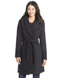 Calvin Klein - Gray Boucle Trim Hooded Wrap Coat - Lyst