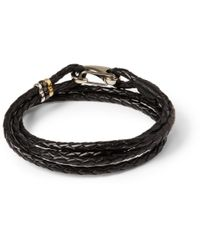 Paul Smith - Black Wovenleather Wrap Bracelet for Men - Lyst