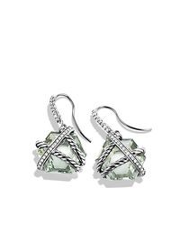 David Yurman - Metallic Cable Wrap Drop Earrings With Diamonds - Lyst