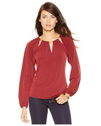 Michael Kors | Red Michael Cutout Chain-link Top | Lyst