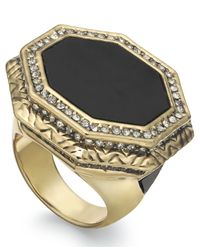 House of Harlow 1960 | Black Gold-Tone Octagon Cocktail Ring | Lyst