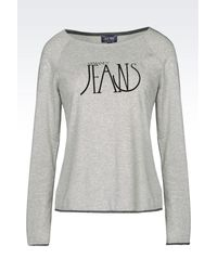 Armani Jeans - Gray T-shirt In Cotton Blend Jersey - Lyst