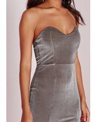 Missguided | Metallic Velvet Bandeau Bodycon Dress Grey | Lyst