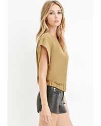 Forever 21 | Green Contemporary Slit-back Elasticized Top | Lyst