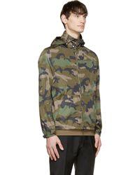 Valentino - Green Nylon Camo Wind Breaker Jacket for Men - Lyst