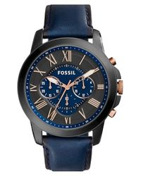 Fossil - Blue 'grant' Round Chronograph Leather Strap Watch for Men - Lyst