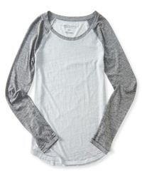 Aéropostale | Gray Sheer Long Sleeve Heathered Raglan Tee | Lyst