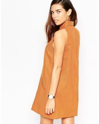 ASOS | Orange Sleeveless Zip Through Shirt Dress | Lyst