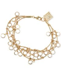 Anne Klein | Metallic Gold-tone Crystal Three-row Bracelet | Lyst
