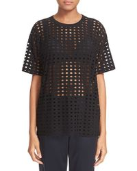 T By Alexander Wang Black Circle Cutout Short Sleeve Jersey Tee