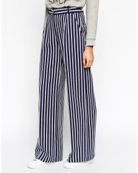 ASOS | Blue Wide Leg Trouser With D-ring In Stripe | Lyst