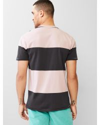 Gap rugby stripe pocket t shirt in pink for men purple for Pink and purple striped rugby shirt