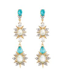 Alexis Bittar | Metallic Elements Howlite Turquoise, White Howlite & Crystal Dangling Post Earrings | Lyst