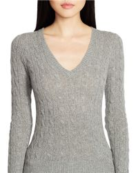 Polo Ralph Lauren | Gray Wool-cashmere V-neck Sweater | Lyst