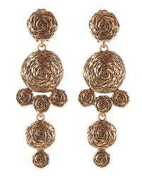 Oscar de la Renta - Metallic Golden Swirl Drop Clip-on Earrings - Lyst