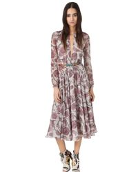 Burberry Prorsum | Pink Victorian Print Washed Georgette Dress | Lyst