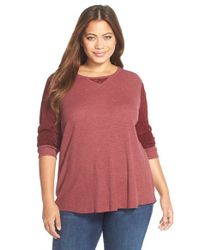Lucky Brand | Red Mixed Media Thermal Top | Lyst