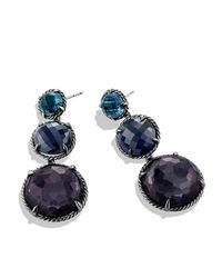 David Yurman - Chatelaine Triple-drop Earrings With Black Orchid & Indian Blue Sapphire - Lyst
