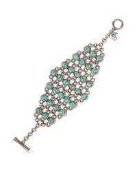 Lucky Brand | Metallic Silvertone Turquoise Stone Toggle Bracelet | Lyst