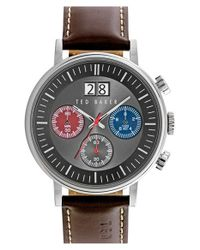Ted Baker - Brown 'sport' Chronograph Leather Strap Watch for Men - Lyst