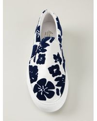 Joshua Sanders - Blue Hawaiian Flower Print Slip-On Sneakers for Men - Lyst