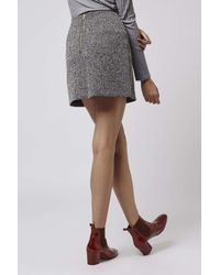 TOPSHOP - Gray Tall Herringbone A-line Skirt - Lyst