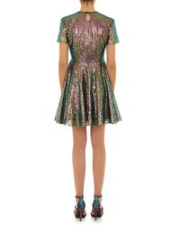 House of Holland - Green Iridescent Lace Skater Dress  - Lyst