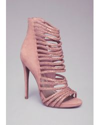 c240ddffd00 Lyst - Bebe Crystal Strappy Sandals in Pink