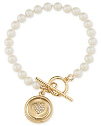 Carolee | Metallic Gold-tone Heart & Pearl Toggle Charm Bracelet | Lyst