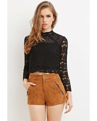 Forever 21 | Black Floral Crochet Mock Neck Top | Lyst