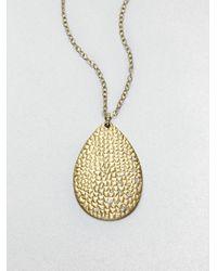 ABS By Allen Schwartz - Metallic Textured Teardrop Pendant Necklace - Lyst