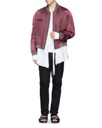 Haider Ackermann - Red Floral Sleeve Herringbone Linen-Silk Bomber Jacket for Men - Lyst