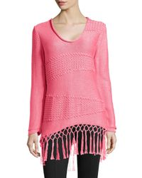 Pure Handknit | Pink Boho Fringe Pullover | Lyst