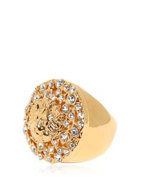 Versus Metallic Rhinestone & Gold Plated Lion Ring