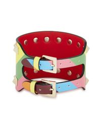 Valentino - Multicolor Rockstud 1973 Leather Cuff - Lyst