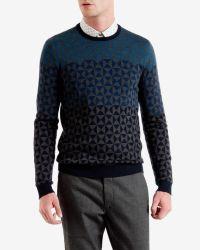 Ted Baker   Blue Ombré Pattern Wool Sweater for Men   Lyst