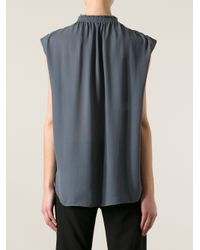 Cedric Charlier - Gray Gathered Blouse - Lyst