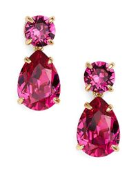 Kate Spade | Gray Crystal Drop Earrings - Fuschia | Lyst