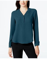 Nine West | Green Long-sleeve Crepe Top | Lyst