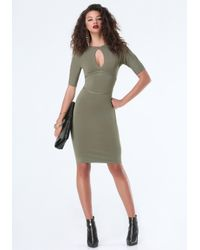 Bebe - Green Peekaboo Mockneck Dress - Lyst