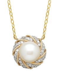 Lord & Taylor | White 14k Yellow Gold Freshwater Pearl And Diamond Necklace | Lyst