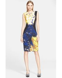 Prabal Gurung | Blue Floral Print Sheath Dress | Lyst