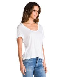 James Perse | Cotton Cashmere V Neck in White | Lyst