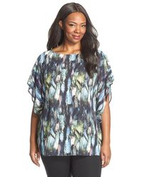 Sejour | Multicolor Sheer Flutter Sleeve Blouse | Lyst
