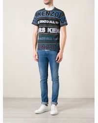 KENZO - Gray Logo Print T-Shirt for Men - Lyst