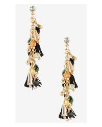 Express - Metallic Bead And Tassel Embellished Post Drop Earrings - Lyst