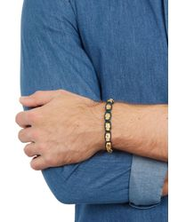 Nialaya | Blue Gold-plated Crystal-embellished Skull Bracelet for Men | Lyst