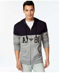 Armani Jeans - Black Color-block Aj81 Full-zip Hoodie for Men - Lyst