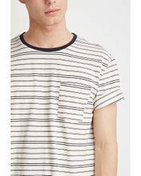 Forever 21 - Natural Striped Pocket Tee for Men - Lyst